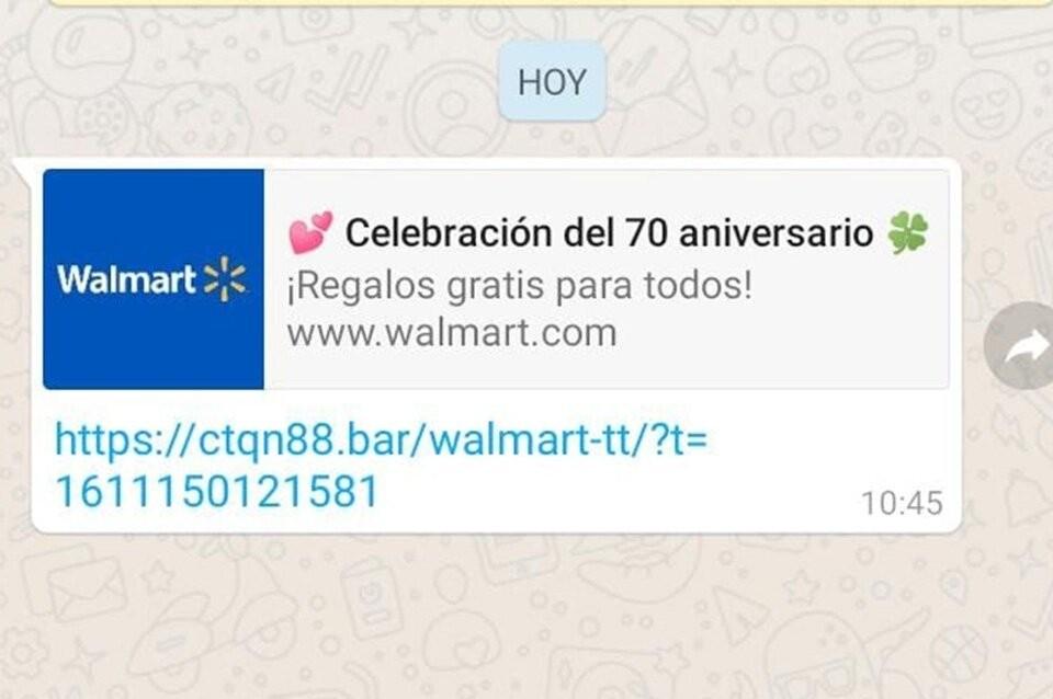 Waltmart alerta sobre un mensaje falso por Whatsapp