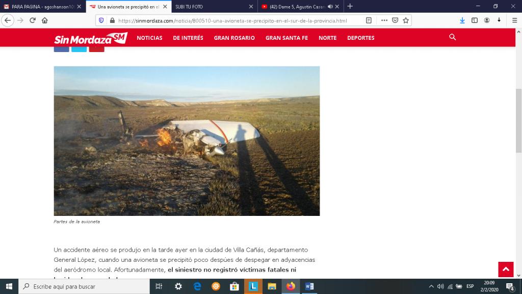 Una avioneta se precipitó en el sur de la provincia