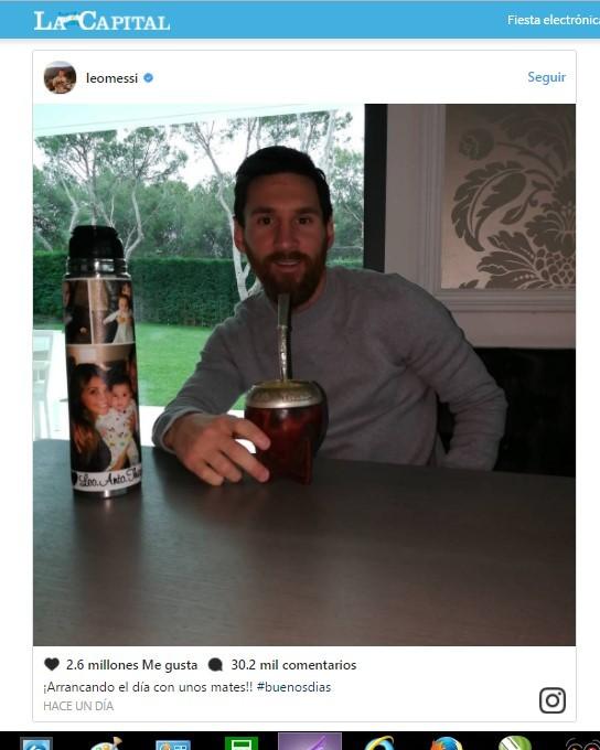 Messi subió una foto de entrecasa y sorprendió con un detalle del termo para el mate
