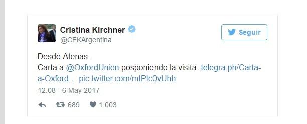 Cristina Kirchner se disculpó ante la Oxford Union por cancelar su viaje