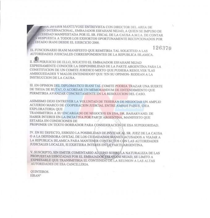 El Memorándum por la Amia fue pedido por Irán, según un cable reservado de Cancillería
