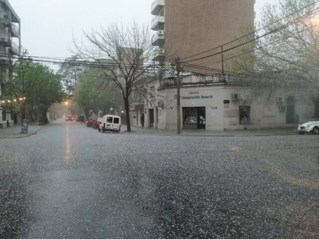 Fuerte granizada en Rosario