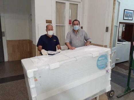 Comenzaron a llegar los equipos al Hospital Cullen para la campaña de vacunación contra el Covid