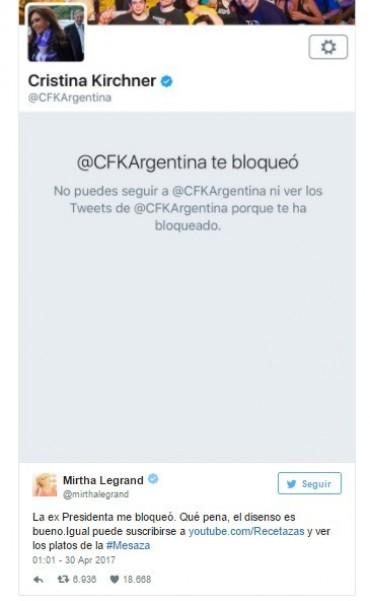 Cristina Kirchner bloqueó a Mirtha Legrand en Twitter y la conductora le dedicó un mensaje